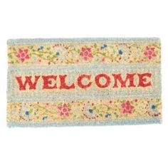Rex International Turquoise floral 'Welcome' doormat- at Debenhams.com