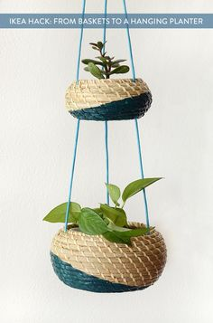 IKEA Hack: Create a clever hanging planter basket set using a set of IKEA baskets.