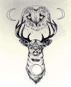 ttatoo de ciervo y buho