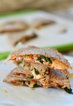 | barbecue chicken, spinach and caramelized onion quesadillas |