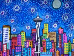 Seattle Art - Seattle City Print Poster of Painting Modern Abstract Colorful - Folk Art by Heather Galler. $24.00, via Etsy.