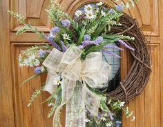 front door...burlap bow cute wreath for summer