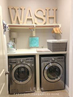 idea, big letters, wash rooms, laundry area, laundry rooms, organized home, hous, small spaces, laundri room