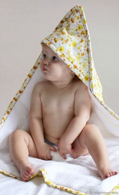 Baby towel Yellow Blossoms design by My Little Venture