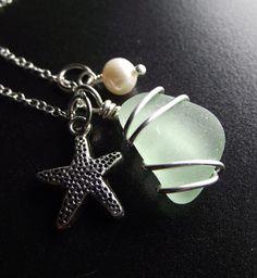Sea Glass Jewelry  Aqua Sea Glass Cluster Necklace