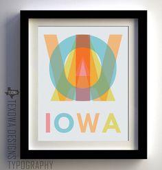 Modern Color Typography : IOWA -  print by Texowa Designs