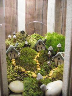 Live Moss Terrarium with Raku fired houses