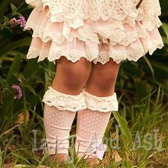 Oh the pink ruffles and footless socks!