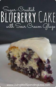 Sugar-Crusted Blueberry Cake with Sour Cream Glaze.