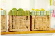 Add a pop of color to your pantry by sewing kitchen towels into basket liners.