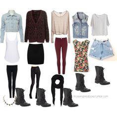 Colored jeans, neutral sweater, combat boots  My boots would work for every one of these (: