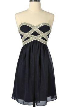 Sparkling Splendor Embellished Chiffon Designer Dress by Minuet in Midnight Blue