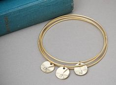 Initial Bangles GOLD, Personalized 3 initial Bangle Set of Three, Personalized Jewelry, Initial Bracelet, Monogrammed Gifts