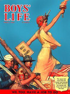 Patriotic WWII era cover of 'Boy's Life' magazine, 1942.