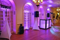 Up-Lights completely change the feel of the room. This beautiful display was at a wedding receipting in Exeter NH