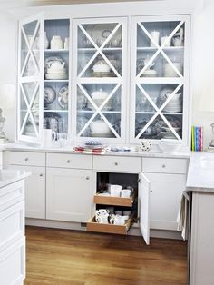 This x-front china cabinet adds to the already pretty kitchen #hgtvmagazine http://www.hgtv.com/kitchens/inside-linda-woodrums-pretty-kitchen/pictures/page-4.html?soc=pinterest