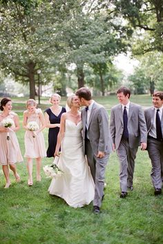 Light pink dresses and grey suits