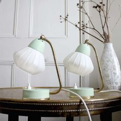 Vintage Midcentury Lamps - White Lampshade, Mint Green and Brass Detail