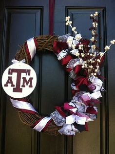"24"" Aggie Wreath - Collegiate Wreath - Texas A Wreath. $70.00, via Etsy."