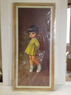 1960s Big Eyed Wall Plaque Little Girl Wall Art by Ann