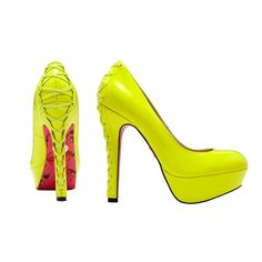 Betsey Johnson #neon #yellow #platform #pumps #Macys #fashion