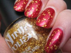 Gold flake nails - OPI You Only Live Twice + Ninja Polish The Midas Touch.