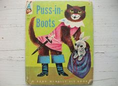 Remember Puss n Boots? This one has GREAT illustrations from 1961 cute! #childrensbook #RandMcNally #pussinboots