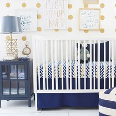 Fun nursery in navy and gold!