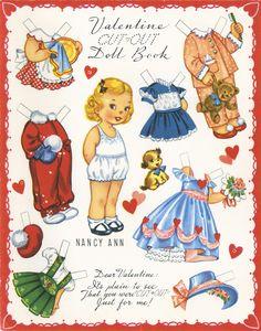 "✄ #Paper dolls.....""Nancy Ann""- Valentine ✄-Out Doll Book, A-Meri-Card, 1952"
