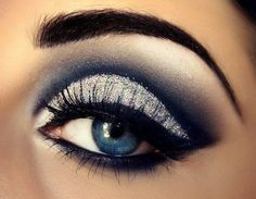 white, silver, blue, and black smoky eye for blue eyes #eyeshadow #highlight #winged #eyeliner
