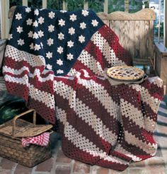 All American Crochet Afghan Pattern ePattern - Free American flag craft patterns and patriotic craft ideas