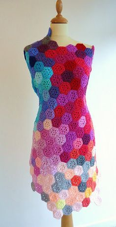 crochet hexagons sleeveless dress - very interesting crochet inspiration - especially the use of color