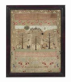 Sampler created at Goldsborough Hall dated 1755 from a Christie's auction lot