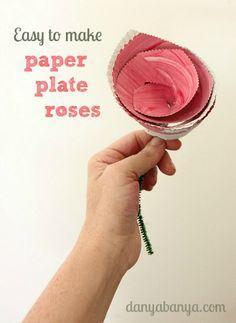 Easy to make paper plate roses by Danya Banya