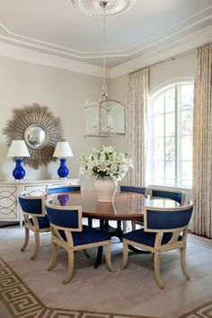 Cobalt and cream make a dynamic duo in the dining room of my Shadow Valley project, featured in Traditional Home. | tobifairley.com