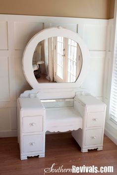 Southern Revivals: A 1940s Vanity Dresser & Mirror Revival.... always wanted this for my girls.