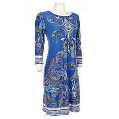 A vibrant print and blue/purple color scheme highlighted in yellow produces an artful appearance. This dress breathes life into your wardrobe by adding a different choice.