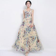 Elegant Style V-Neck Tight Waist Maxi Chiffon Dress
