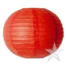 """14"""" Red Round Paper Lanterns (12 Pieces)"""