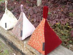 Fabric Door Stops - Pyramid.  Need 2 of these in the bedroom! fabric door stop
