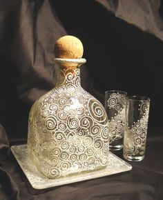 Patron Bottle Crafts | Ahhh! To do: etch old patron bottle and pair of glasses. | crafts