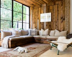 cabin, couch, salvaged wood, modern rustic, cozy living rooms