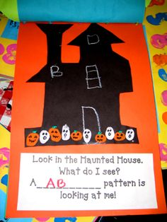 holiday ideas, kindergarten patterns, journal pages, journal art, haunted houses, math activities, ab pattern, art activities, math journals