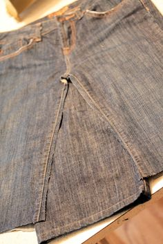 Katie s Secret Blog: instant skirt from a pair of jeans. I like the detail