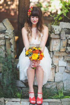 tea length wedding gown // photo by June Lion // http://ruffledblog.com/whimsical-portland-brunch-wedding