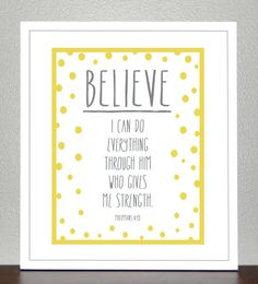 Bible verse  Philippians 413 Yellow and Gray  by CreativeWildChild, $20.00