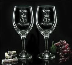 Wine glasses with etched glass decals. Perfect for weddings and anniversary parties!
