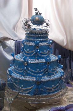 Beautiful blue Cinderella wedding cake,  Go To www.likegossip.com to get more Gossip News!
