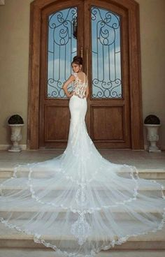 Mint green wedding dress with long tail