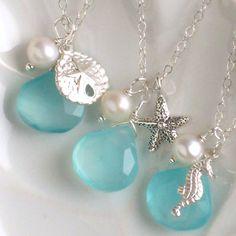 Bridesmaid Gift Set, 3 Starfish Necklaces, Chalcedony, Pearl, Sand Dollar, Starfish, Seahorse Charms in Silver, Beach wedding, Seashells